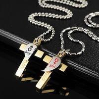 Wholesale and retail 2012 titanium steel couples crest cross lovers pendant necklace valentine gift T071