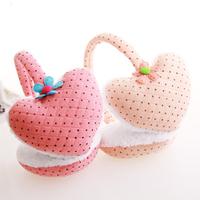 2012 fashion heart dot flowers  five petal flower   nonplowable earmuffs    Unique design  Hot  selling