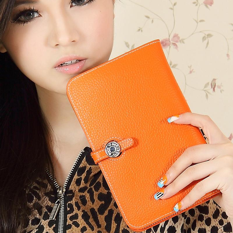 Luxury wallet women's handbag 2014 bag passport holder cowhide clutch women's genuine leather medium-long wallet(China (Mainland))