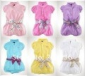 baby romper girl romper short sleeves romper with belt free shipping