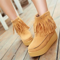 2012 tassel boots platform comfortable platform boots with the boots winter boots cotton-padded shoes women's boots