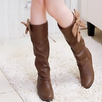 2012 spring and autumn female shoes medium-leg boots bow flat boots high-leg boots
