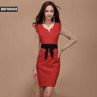 One-piece dress autumn 2012 autumn and winter bow woolen slim wool tank dress female qa001