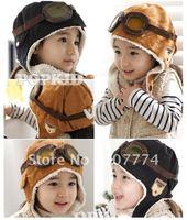 Free shipping NEW 100% wool Wholesale retail children hats boys flight caps kids winter hats earflap Cap Beanie Pilot