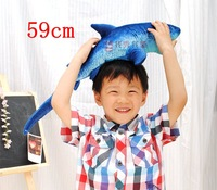 Wholesale Retail 59cm Simulation Shark Creative Plush Toy Cushion Pillow Home Decor Children Gift Free Shipping 1 Pcs