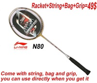 FREE SHIPPING 1 piece Badminton Racket LiNing N80 Badminton Racket / Badminton / sporting goods