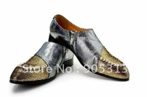 2012 man leather shoes fashion men's leisure men's gold set auger pointed shoes(China (Mainland))