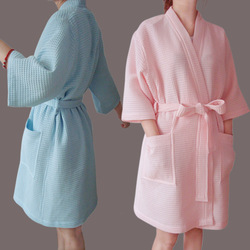 Wholesale and Retail/Free shipping/Cotton Waffle Short Design Bathrobe/ Ladies&#39; Short-sleeve Summer Robe for C-sunny/OEM(China (Mainland))