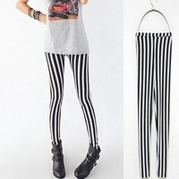 Free shipping,Black and white full vertical stripe ankle length trousers legging female