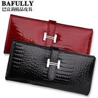 Free Shipping Female wallet medium-long cowhide women's wallet women's wallet japanned leather three-fold short design