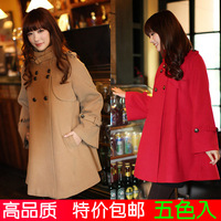 2012 autumn and winter women vintage british style cloak plus size woolen outerwear cashmere wool coat free shipping