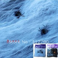 Free shipping by EMS wholesale halloween decoration,stretchable spider webs ,large spider cotton,more colors gift 100pcs/lot