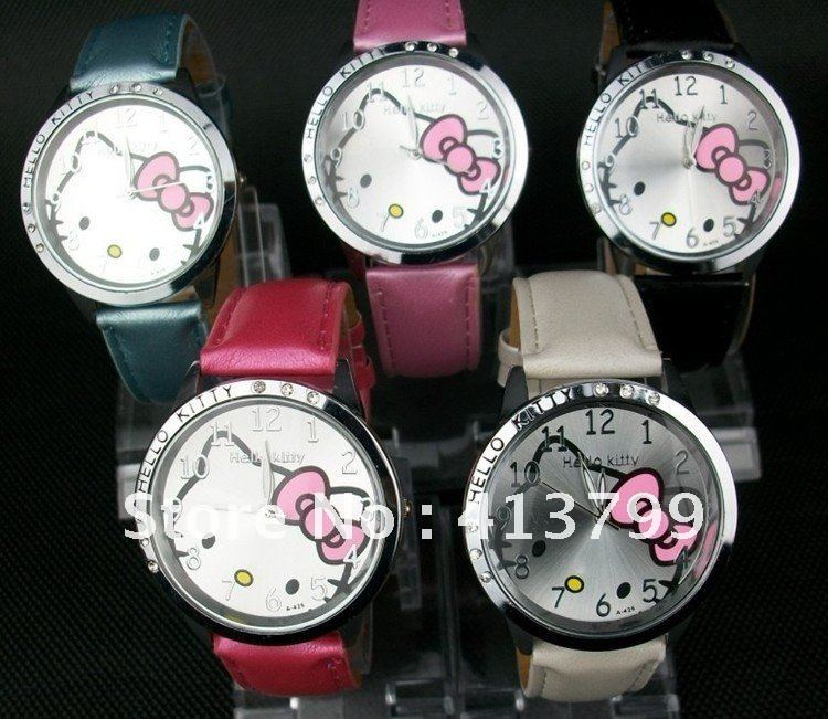 5 pcs / lot New Arrive Promotions new hot High Quality Hello kitty Fashion Cute Lovely Girl lady woman Wrist Watches(China (Mainland))