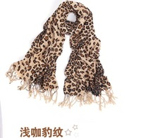 W-02 leopard print scarf female spring and autumn ultralarge ultra long rectangle silk scarf female cape muffler scarf