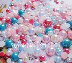 2012 Loose 3-8mm Pearl mix color 500pcs Acrylic Flat Back Half Pearl beads for Nail Art decoration/jewelry!(China (Mainland))