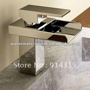 single handle bathroom sink waterfall faucet, waterfall basin mixer taps, lavatory basin mixer tap, bathroom sink faucet