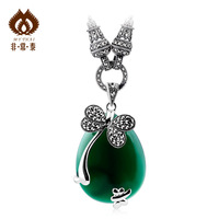 Natural green agate stone necklace 925 pure silver jewelry pendant female