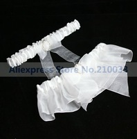 White Organza Wedding Garters 2PCS With Oval Rhinestone Personalized Bridal Garters for Wedding Free Shipping Retails