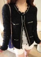 Elegant ladies small soft mohair ubiquitous1 patchwork sweater cardigan coat