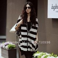 FREE SHIPPING 2012 autumn batwing sleeve sweater female cardigan women outerwear black and white stripe plus size medium-long