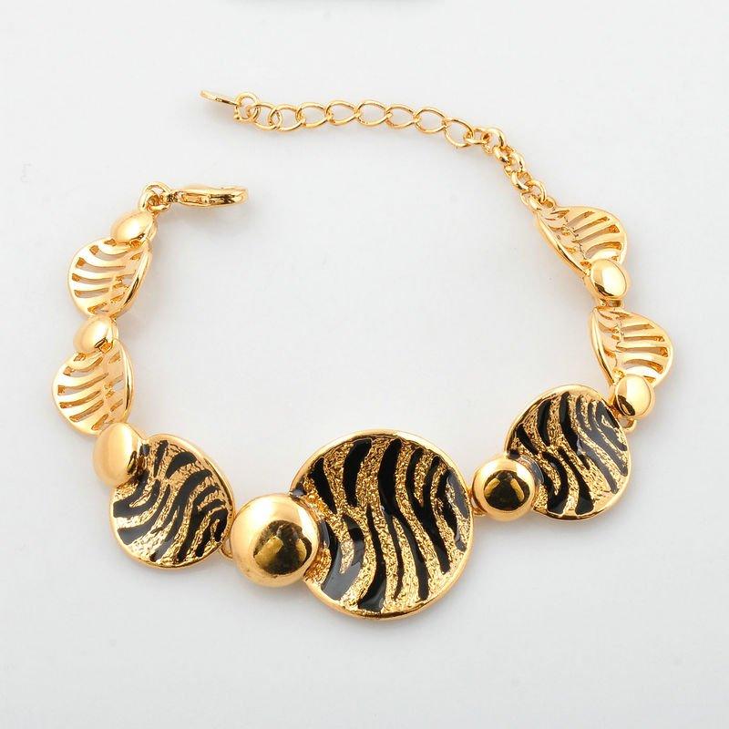 leopard pattern bracelet 14k gold plating zinc alloy