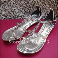 Special offer free shipping wholesale 2012 fashion women's classy&exquisite  rhinestones metallic cow leather   thong sandals