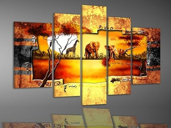 hand-painted oil wall art Warm color tree elephant deer decoration abstract Landscape oil painting on canvas 5pcs/set mixorde