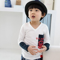 New arrival  children's clothing long sleeves t-shirt /kids clothes/t-shirts Free shipping+4pcs/lot/color white,dark bule,green