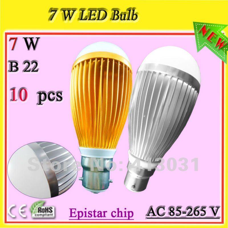 B22 bayonet cap fitting led bulb golden/silver aluminum profile led lamp_7W BC base warm weiss Bombillas LED(China (Mainland))