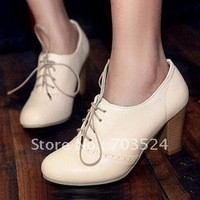 Vintage fashion relaxation high-heeled thick heel casual single shoes 34 - 42 yards