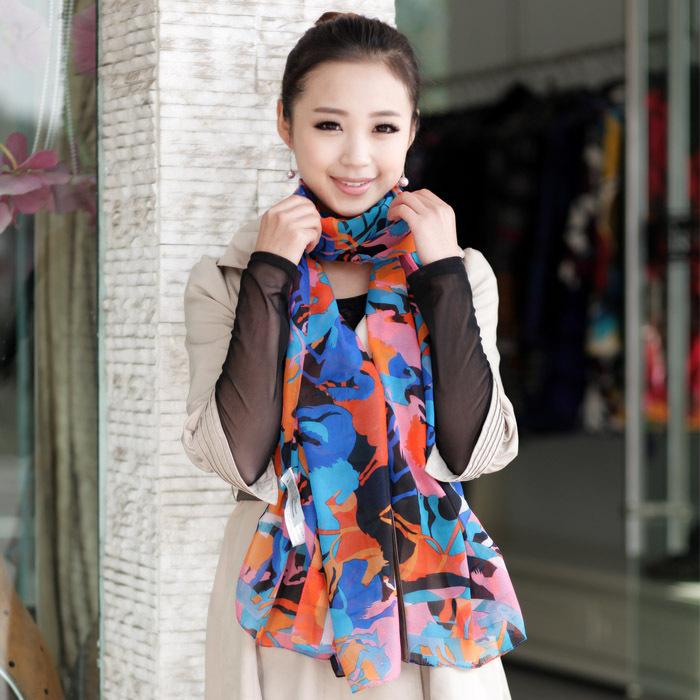 2012 women's scarf fashion carriage scarf velvet chiffon long silk scarf long designer(China (Mainland))
