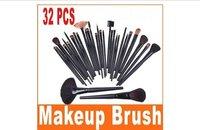 wholesale 50pcs/lot 32 PCS Professional Makeup Brushes Goat hair 32pcs Make up Brush Set Cosmetics Kit With Black Case