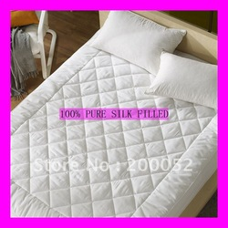 NEW Silk Filling Mattress topper 200*220CM white cotton cover Spring/Fall(Hong Kong)
