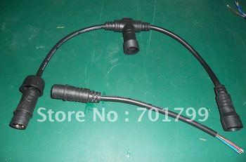 2core waterproof T type splitter;black color: the male connect's diameter:15mm