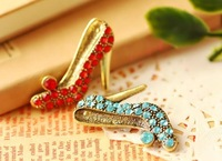 Crystal high-heeled shoes corsage diamond brooch personality female pin badge