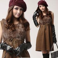 2012 autumn new arrival quality rabbit fur rhinestones eyelash lace woolen tank dress autumn one-piece dress women's
