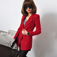 2014 all-match turn-down collar oblique buckle woolen outerwear slim medium-long woolen overcoat female
