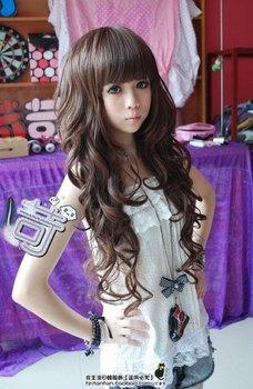Cute Black/Brown Women Long Wavy Party Hair wig