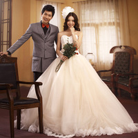 Free shipping! Lace embroidery tube top royal princess train wedding dress 6226
