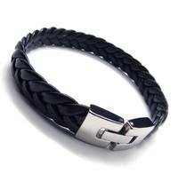 Fashion Black Leather Knitted Bracelet, Titanium Men Bracelet, Boy Friend Gift