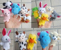 wholesale baby educational toys christmas gift kid's finger puppet, animals plush toy, mix order 50 pieces/lot free shipping