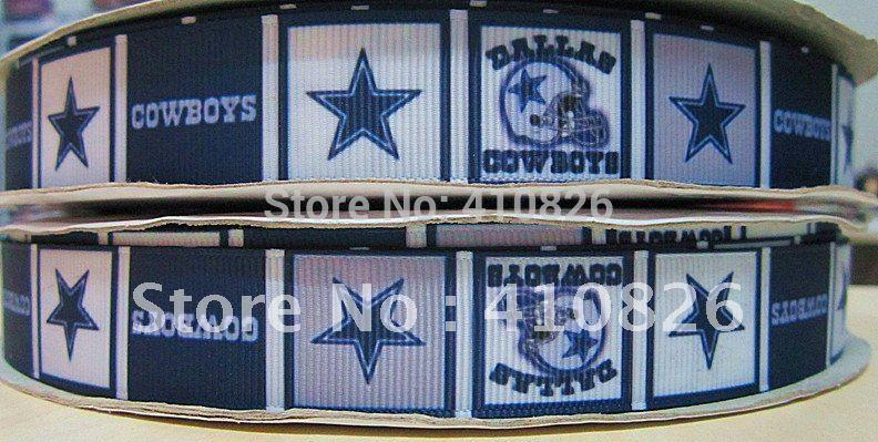 "WM ribbon wholesale/OEM 7/8"" Sport Team dallas cowboy printed grosgrain ribbon 50yds/roll free shipping(China (Mainland))"