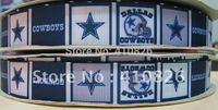 "WM ribbon wholesale/OEM 7/8"" Sport Team dallas cowboy printed grosgrain ribbon 50yds/roll free shipping"