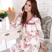 Free Shipping Summer female 100% cotton long-sleeve sleepwear spaghetti strap sleepwear lounge three pieces set