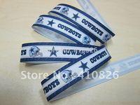 "WM ribbon wholesale/OEM 7/8"" Sport Style cowboys printed grosgrain ribbon 50yds/roll free shipping"