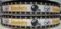 "WM ribbon wholesale/OEM 7/8"" steelers grosgrain ribbon 50yds/roll free shipping"