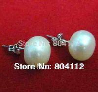 Vintage 925Silver Earrings Studs 9mm Fresh Water Pearls Gift
