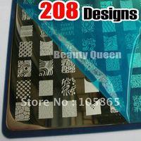 208 Designs XXL BIG Stamping Plate Konad French & Full Design Nail Art Image Plate Metal Stencil Print Template Large DIY NK03