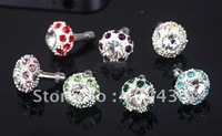 crystal bling diamond earpone jack bird nest dustproof plug 100pcs/lot