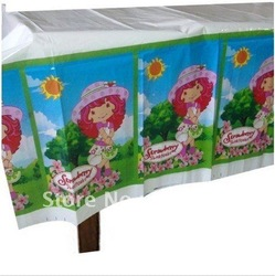 20 X STRAWBERRY SHORTCAKE Party Supplies Plastic Party Tablecover Children Partyware , Free shipping(China (Mainland))